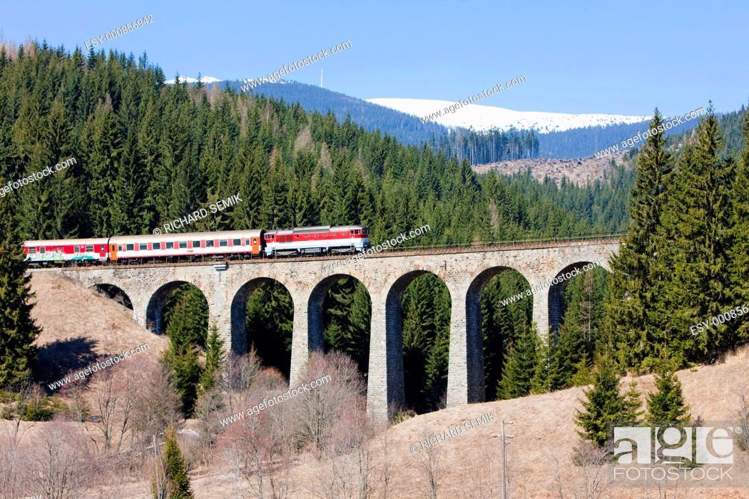 Stock Photo: passenger train on railway viaduct near Telgart, Slovakia.