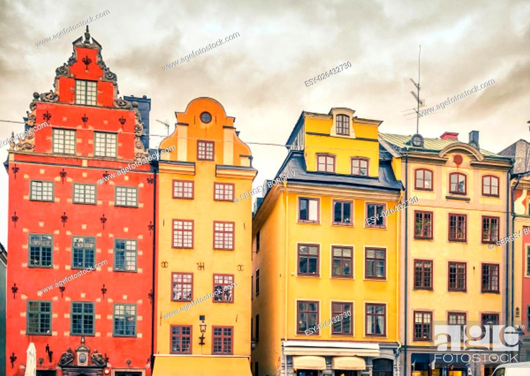 Stock Photo: Buildings on Big Square (Stortorget) in the Old Town (Gamla Stan) of Stockholm, Sweden.