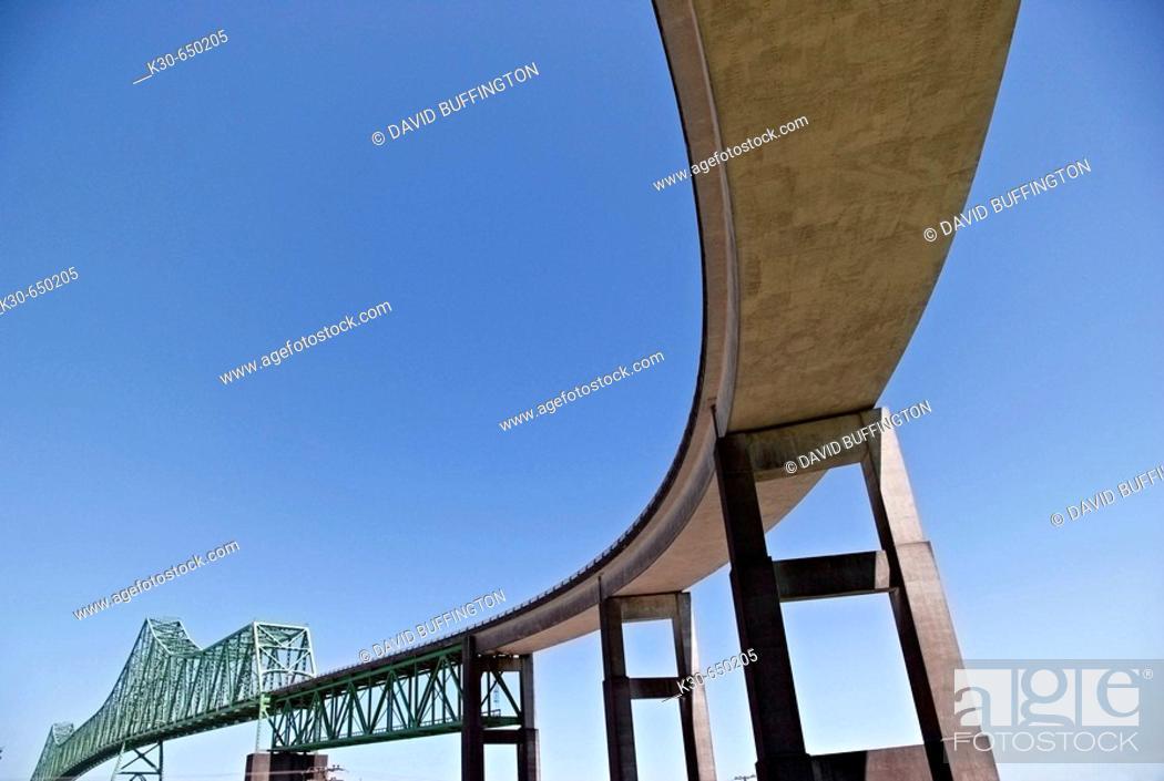 Stock Photo: Astoria, Oregon, view of the Astoria Bridge which crosses the Columbia River between Oregon and Washington, USA.
