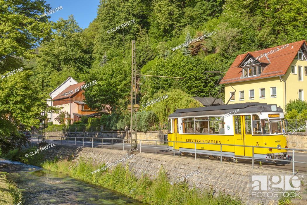Stock Photo: Kirnitzsch valley railway in the Kirnitzsch valley in the Saxon Switzerland Region near Bad Schandau, Saxony, Germany.