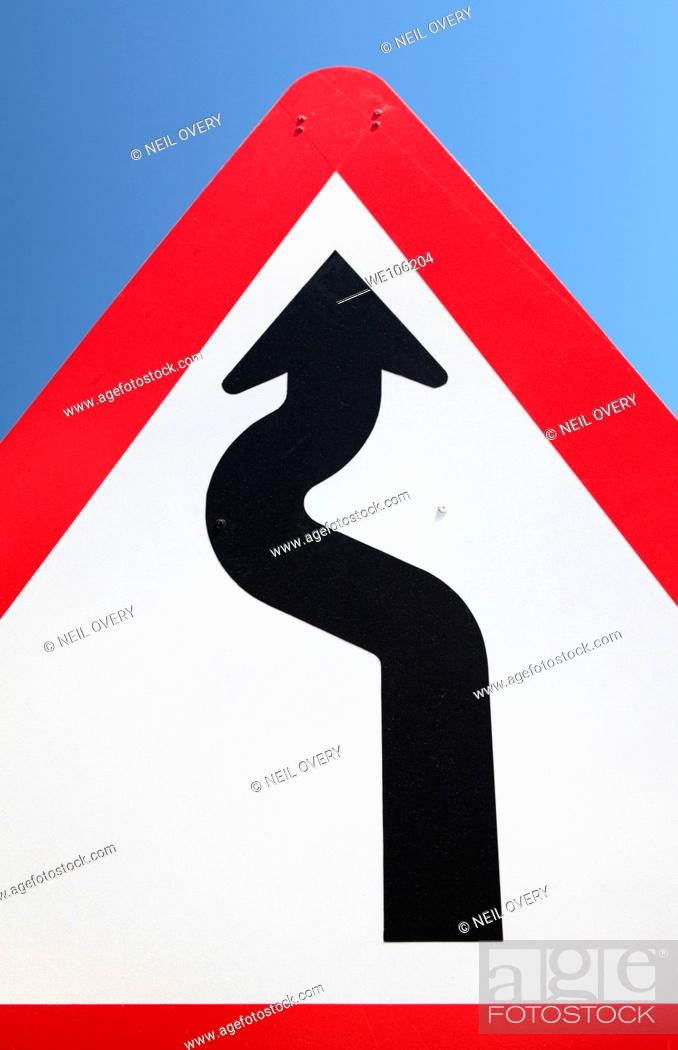 Stock Photo: Bend in Road Sign.