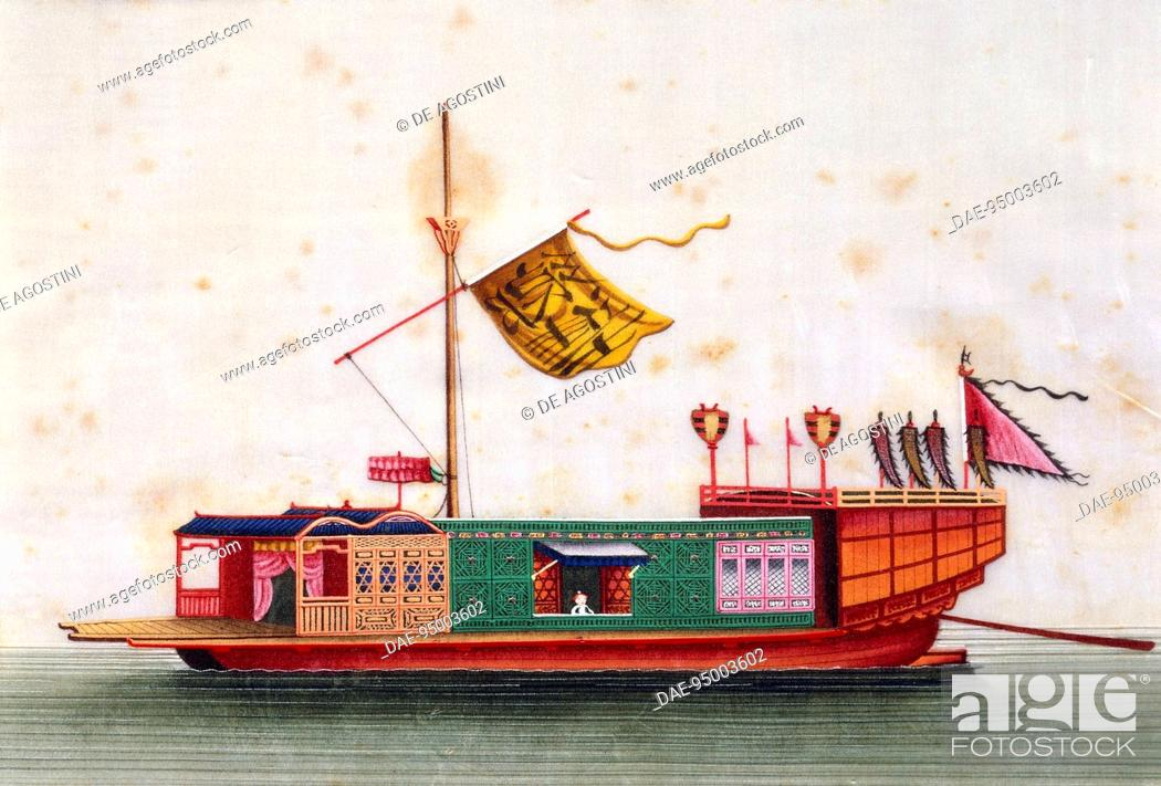 Stock Photo: Boat from the eastern seas of China, painted on silk by an unknown artist, 19th century.  Genoa Pegli, Civico Museo Navale (Boat Museum).