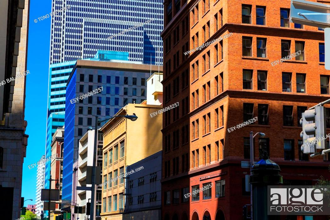 Stock Photo: San Francisco downtown buildings in California USA.