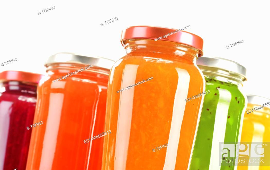 Stock Photo: Jars of fruity jams isolated on white background. Preserved fruits.