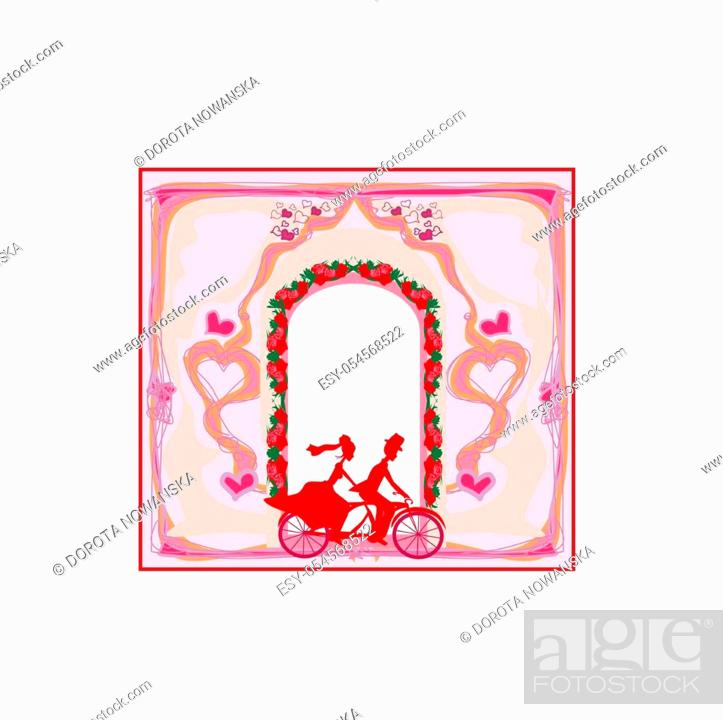 Stock Vector: Wedding invitation with bride and groom riding tandem bicycle.
