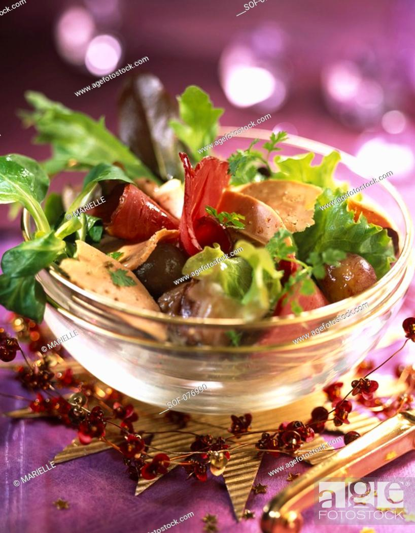 Stock Photo: fillet of ducks breast salad with flakes of foie gras.