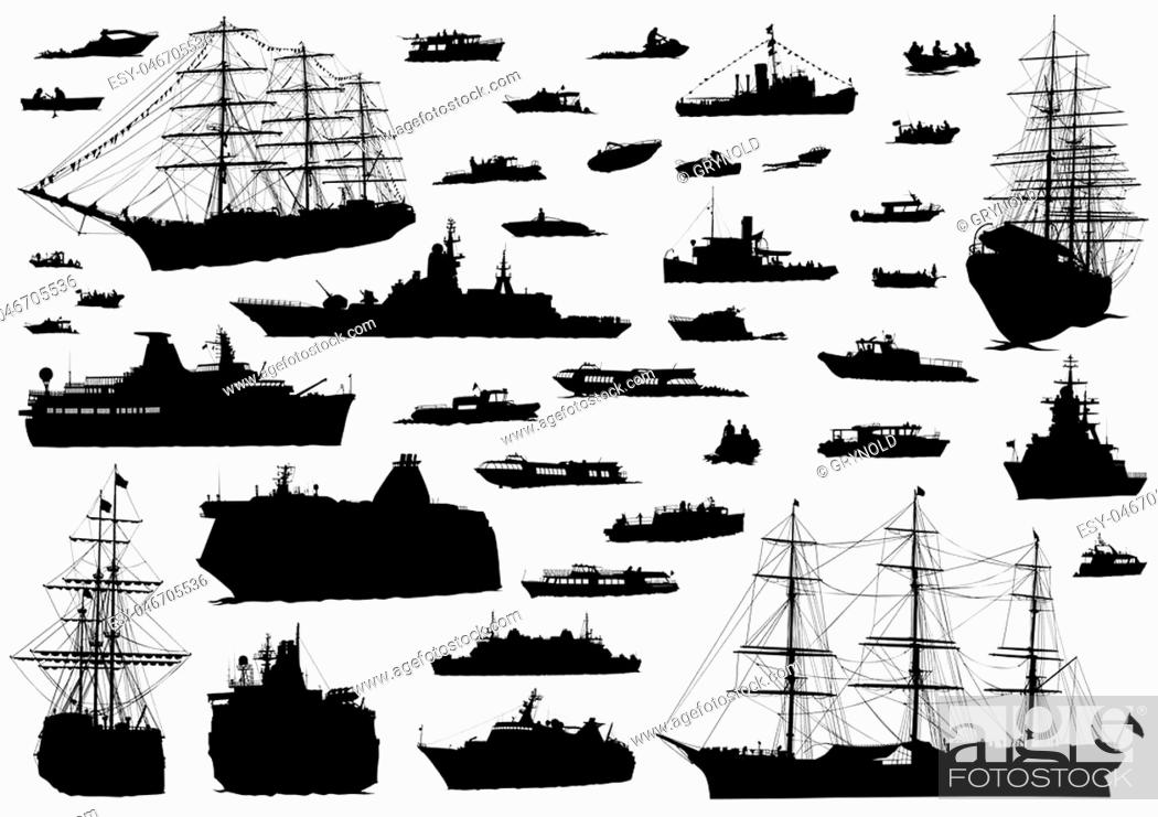 Stock Vector: Silhouette of retro ship on white background.