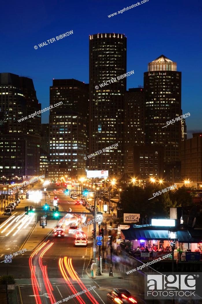 Stock Photo: USA,Massachusetts, Boston, Financial District from Seaport Boulevard, evening.