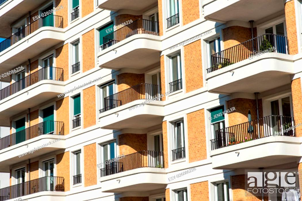 Stock Photo: facade of a modern building with many balconies in berlin.