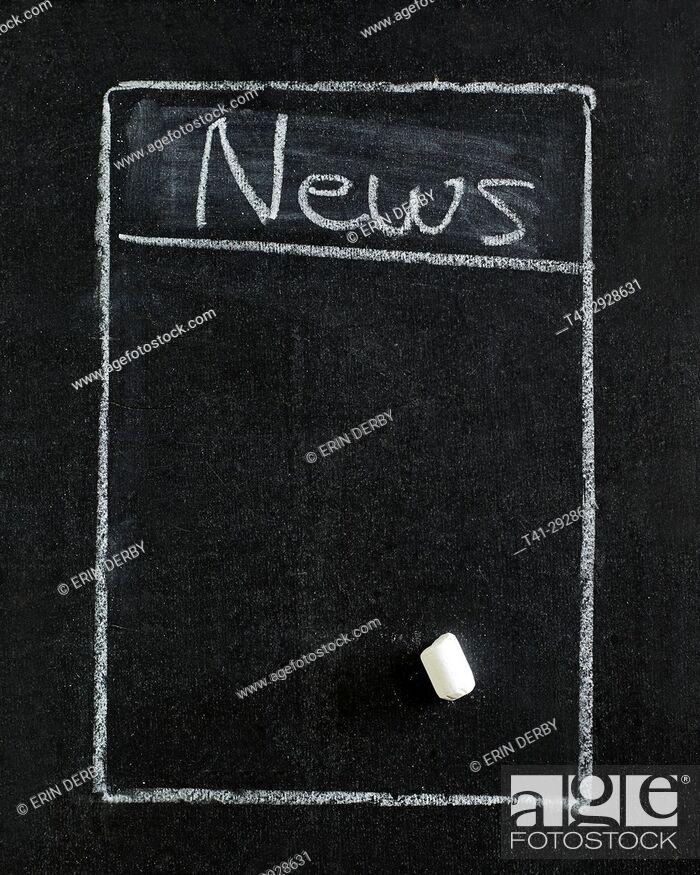 Stock Photo: News List in blackboard.