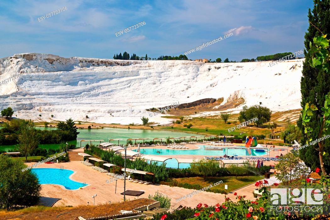 Stock Photo: abstract in  pamukkale turkey asia the old calcium bath and travertine water.