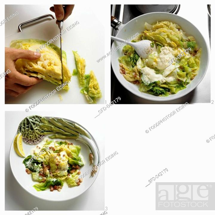 Stock Photo: Preparing savoy cabbage in cream.