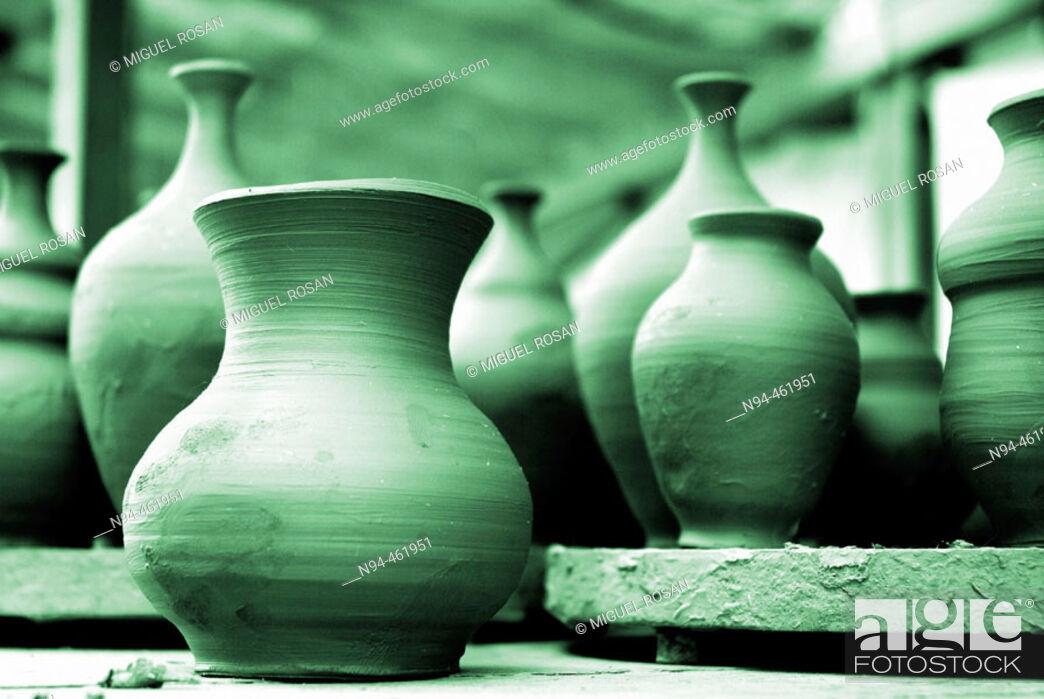 Stock Photo: Valencian traditional pottery in a workshop. Lliria. Valencia province, Valencian Comunity, Spain.