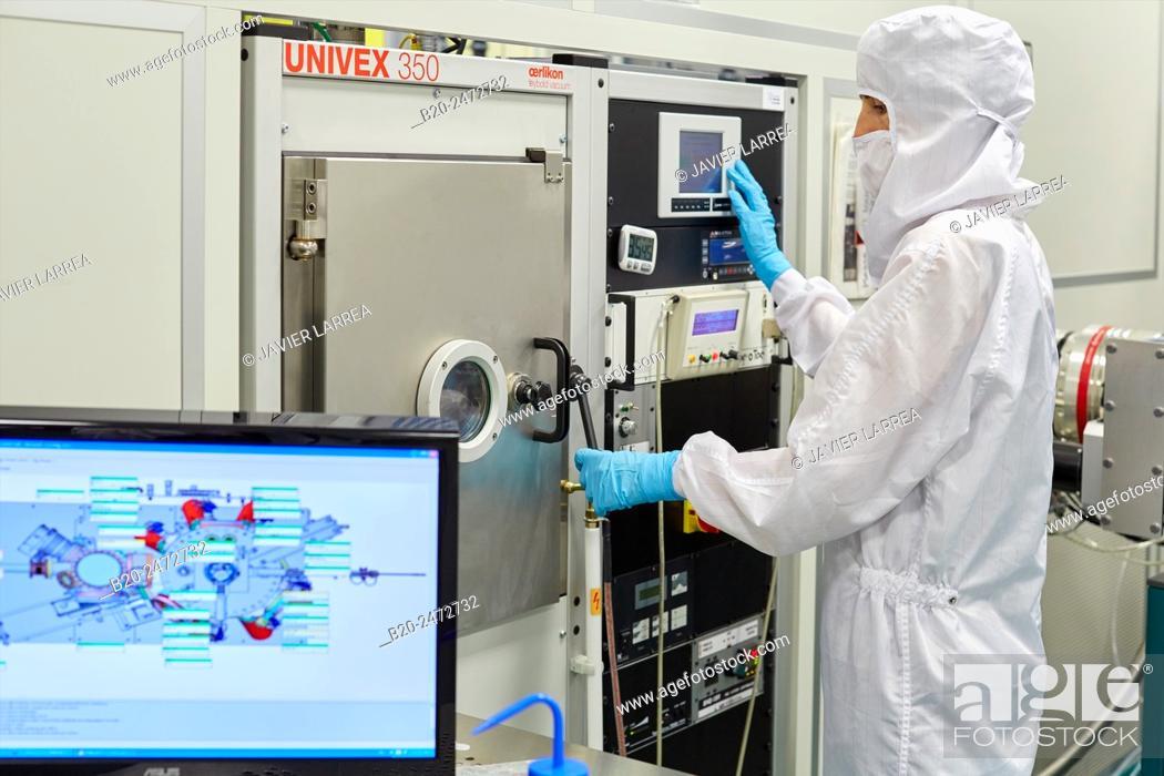 Stock Photo: Oerlikon Univex eBeam/thermal deposition system. Cleanroom. Nanotechnology. Laboratory. CIC nanoGUNE Nano science Cooperative Research Center.