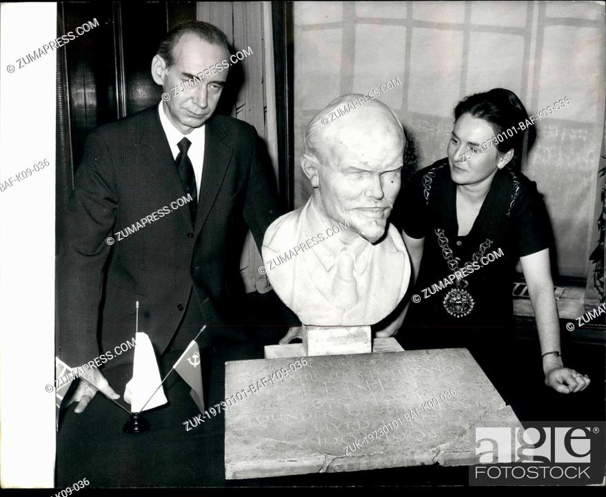 Stock Photo: Jan. 01, 1973 - Russian Ambassador receives Lenin Plaque: The Russian Ambassador, Mr. Mikhail Smirnovsky, was today presented with a plaque which once marked.