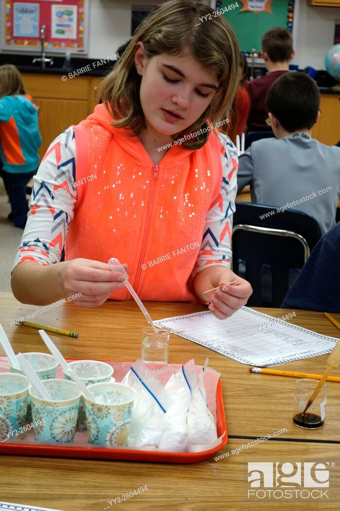 Stock Photo: Student Studying Chemical Reaction to Liquids, Wellsville, New York, United States.
