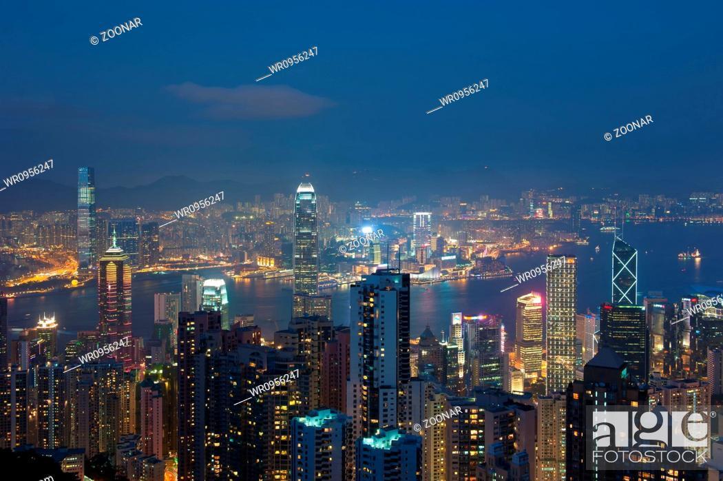 Hong Kong At Night View From Victoria Peak Stock Photo