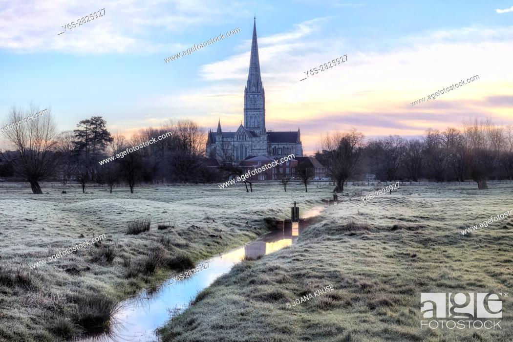 Stock Photo: Salisbury Cathedral, Salisbury, Wiltshire, England, UK.