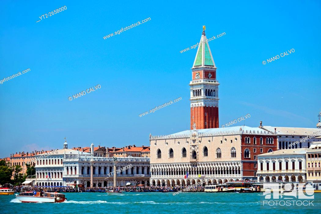 Stock Photo: Venice skyline with the Campanile di San Marco (St. Mark's bell tower), Italy.