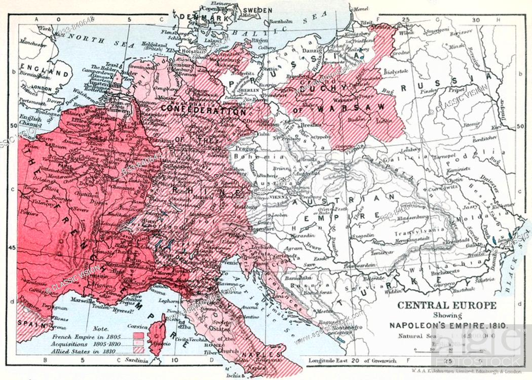 Map Of Central Europe Showing Napoleon S Empire 1810 From Historical