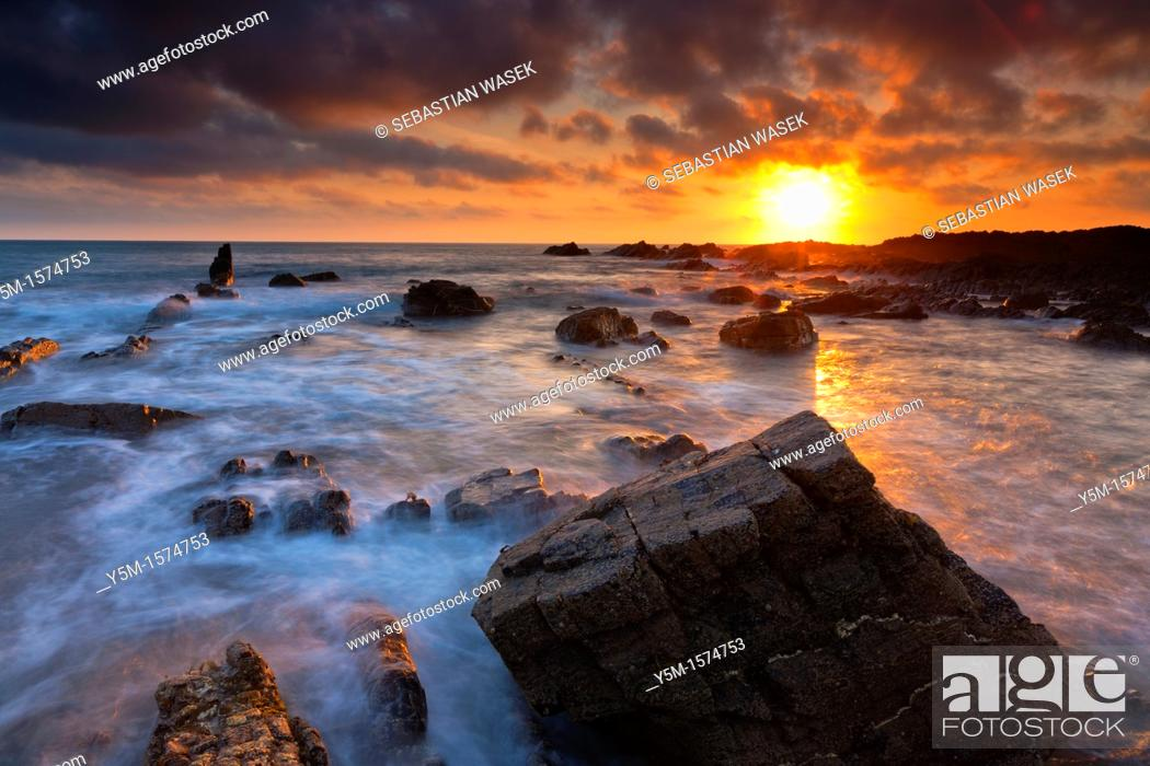 Stock Photo: The rocky shores of Hartland Quay in North Devon, England, United Kingdom, Europe.