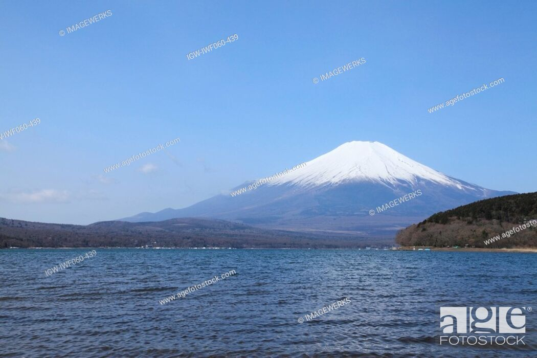 Stock Photo: View of Lake Yamanaka with Mt. Fuji in the background.