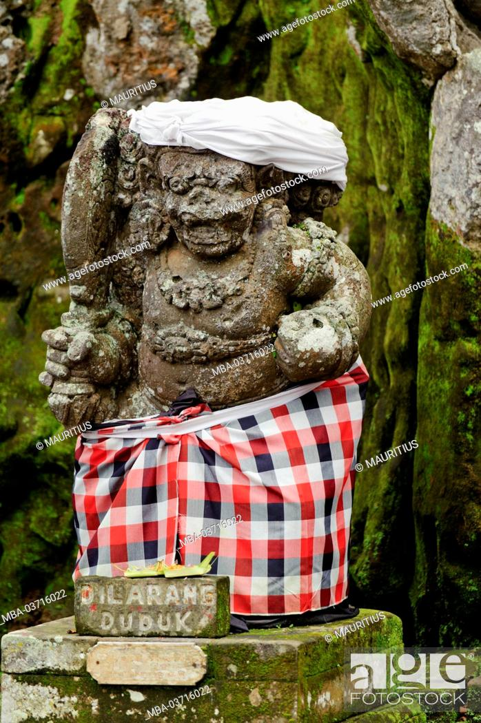 Asia Indonesia Bali Elephant Temple Of Goa Gajah Stone Figure