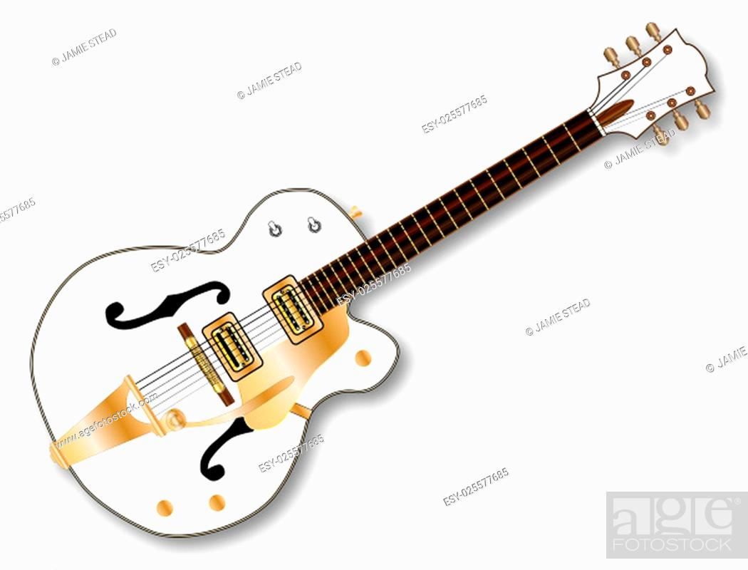 Stock Photo: A typical country and western guitar in white over a white background.