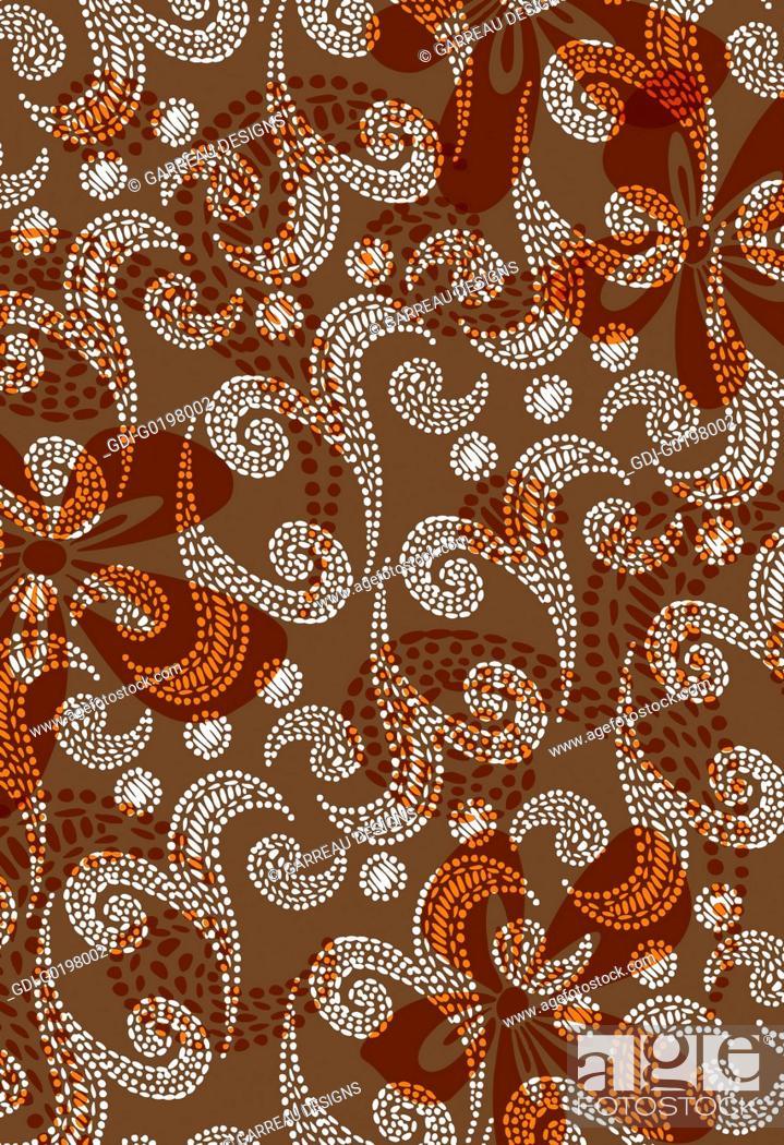 Stock Photo: Flower and swirl spot design.