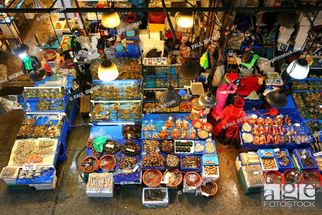 Stock Photo: Stalls at Noryangjin Fish and Seafood Market in Seoul, Korea.