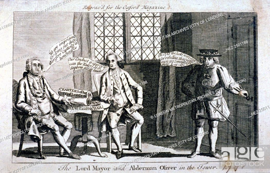 Stock Photo: The Lord Mayor [Brass Crosby] and Alderman Oliver, imprisoned in the Tower of London, 1771. Crosby and Oliver clashed with Parliament over the publication of.