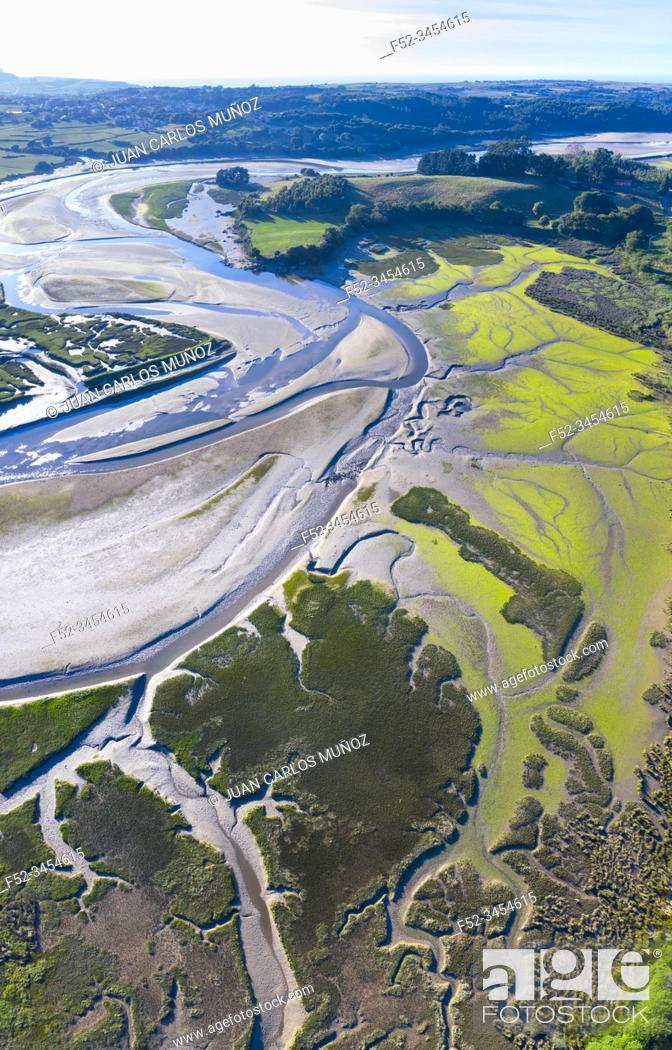 Stock Photo: Aerial View, Campiezo river, Ría de Ajo, Ajo, Bareyo Municipality, Cantabria, Spain, Europe.