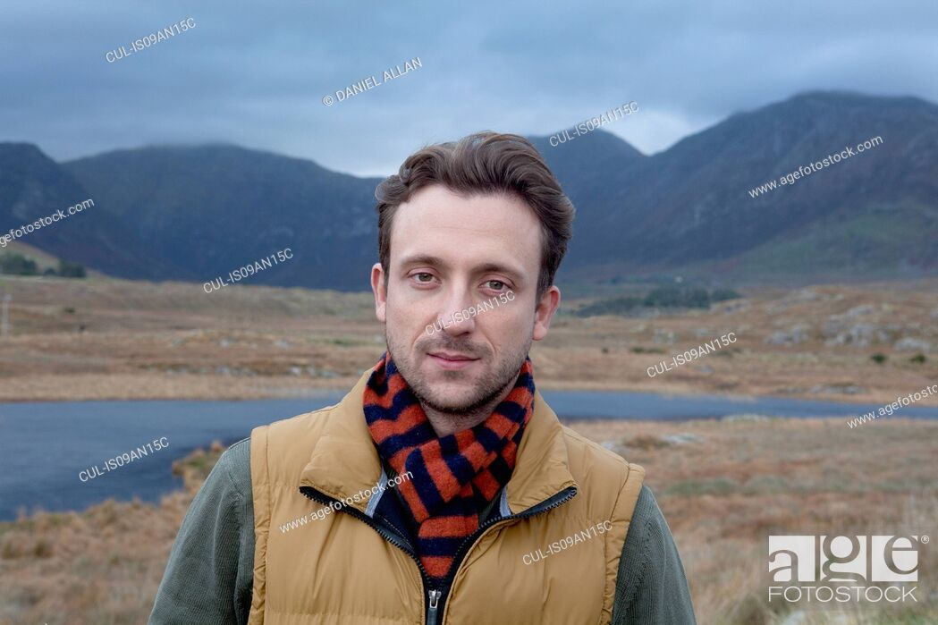 Stock Photo: Man enjoying countryside, Connemara, Ireland.