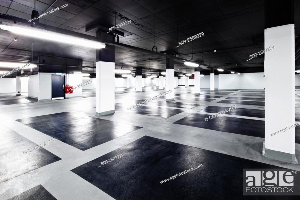 Stock Photo: Car park spaces in the Setanta Car Park, Nassau Street, Dublin 2, Ireland.