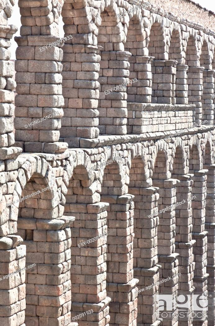 Stock Photo: The ancient aqueduct in Segovia.