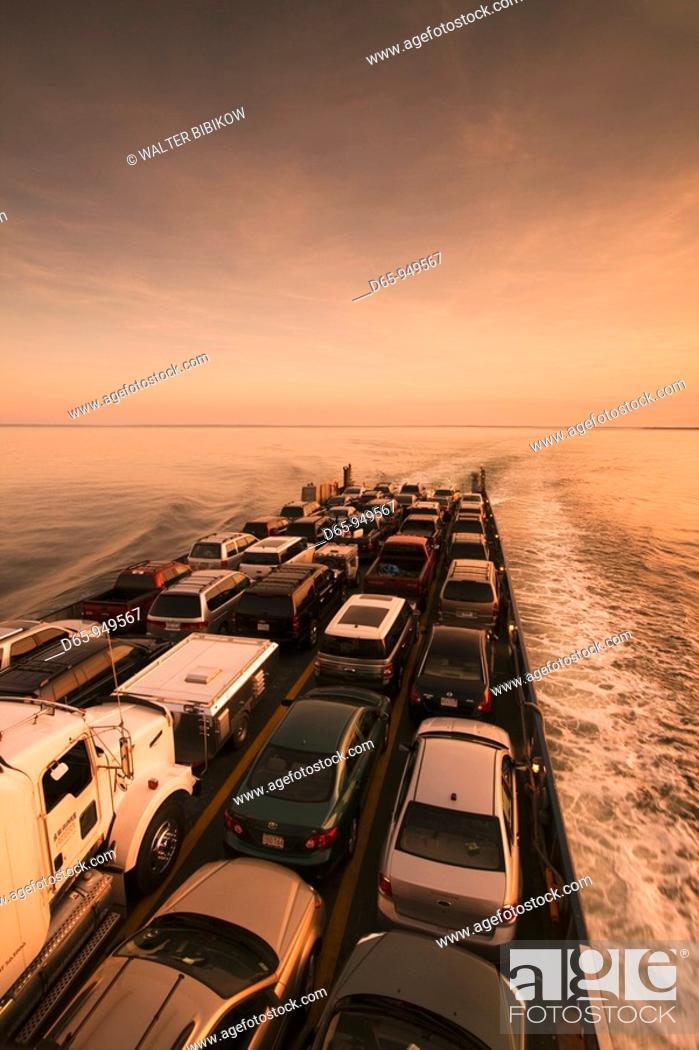 Stock Photo: USA, New York, Long Island, Orient Point, Long Island Sound Ferry, dusk.