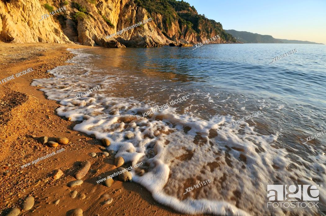 Stock Photo: Cala Futadera at sunrise, Tossa de Mar, Costa Brava, Catalonia, Spain, Europe.