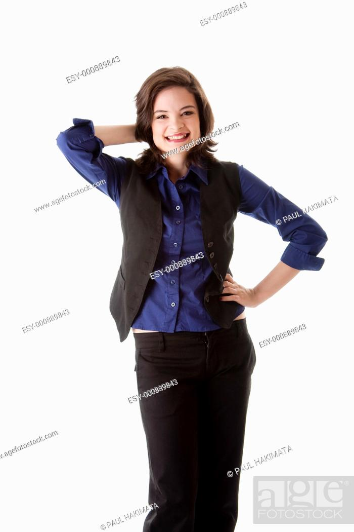 Stock Photo: Beautiful young caucasian brunette business student woman standing with hand on hip and behind head smiling, wearing blue blouse and black jacket, isolated.