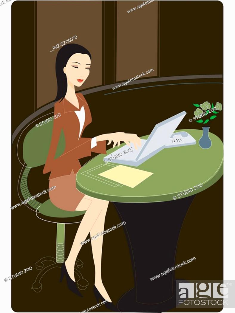 Stock Photo: Businesswoman using her laptop.