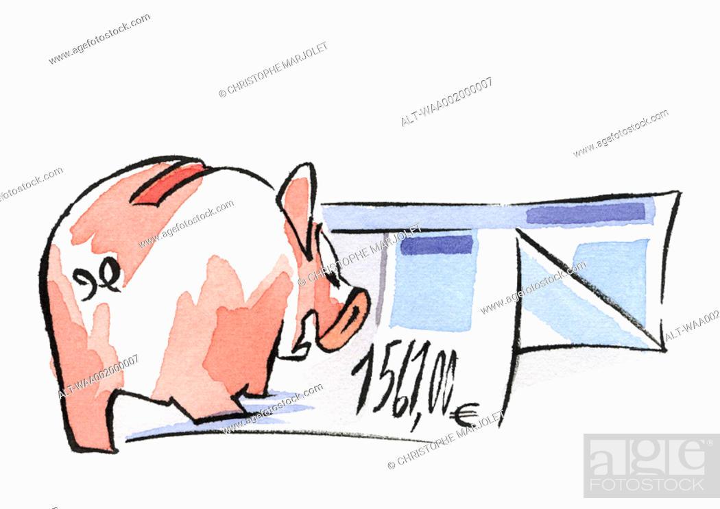 Stock Photo: Piggy bank and euro invoice.