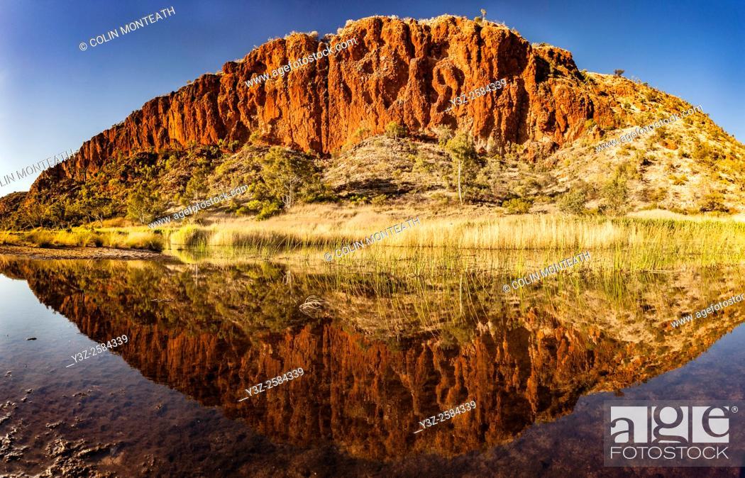 Imagen: Glen Helen Gorge, dawn reflection in Finke river, MacDonnell Ranges, Northern territory, Central Australia.