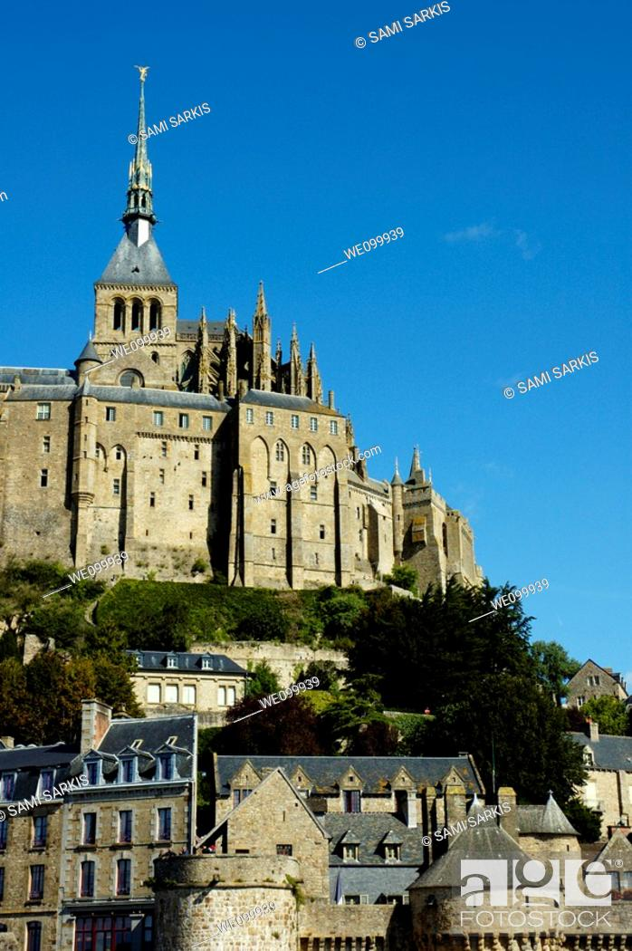 Stock Photo: Ramparts of Mont Saint-Michel, a fortified medieval monastery on an island in Normandy, France.