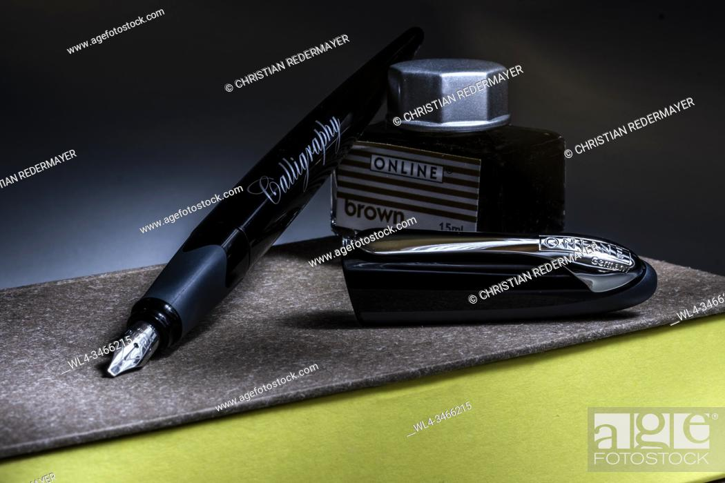 Stock Photo: Calligraphy pen on a closed book and a can of ink.