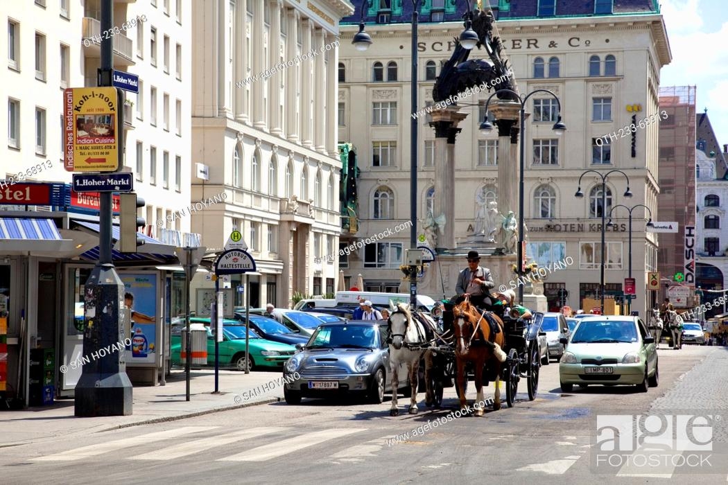 Fiakr Horse Carriage Passing By The Vermahlungsbrunnen Fountain At