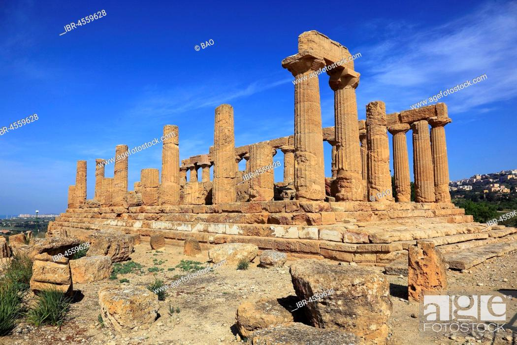 Stock Photo: Valle di Templi di Agrigento, Temple of Hera Lakinia or Temple of Juno, Tempio di Giunone, Agrigento, Sicily, Italy.