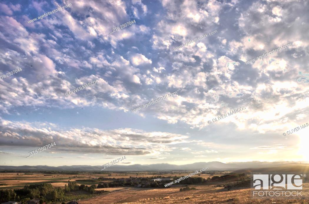 "Stock Photo: View from Castrotierra de la Valduerna. Sierra de Teleno, Montes de León, Leon province, Spain. Image taken using a similar """"time-stack"""" but with variations."