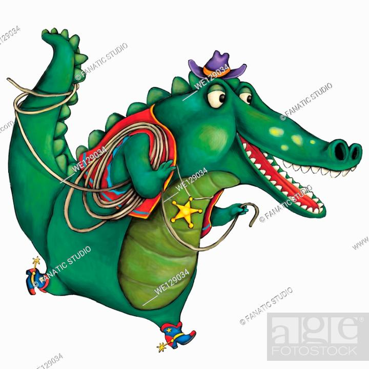 Stock Photo: Illustration of crocodile dressed as cowboy over white background.