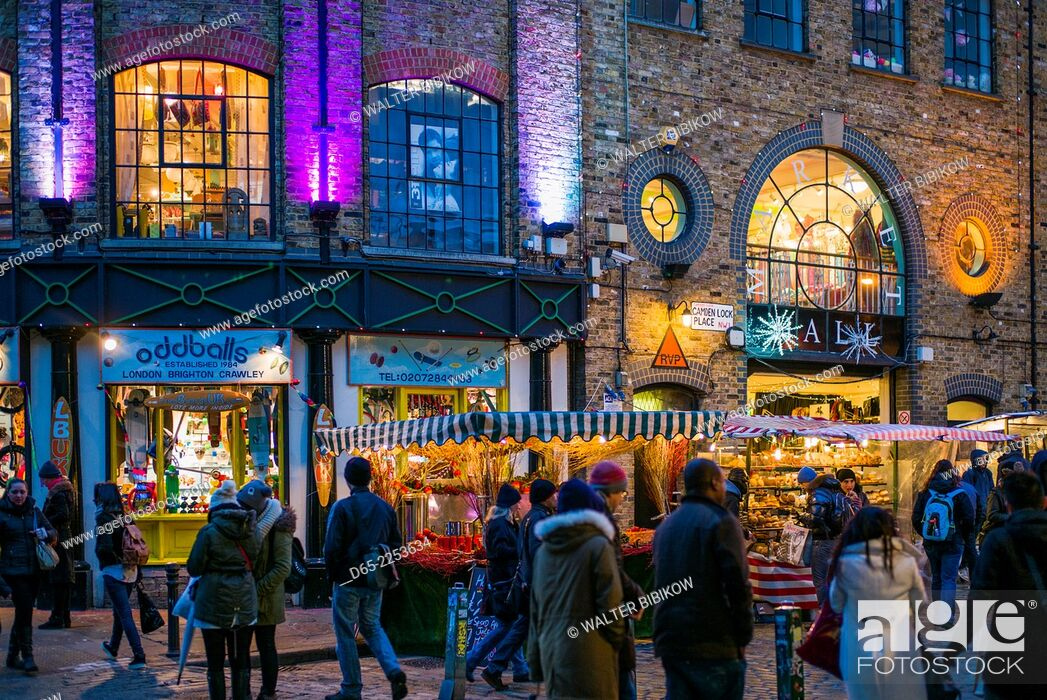 Stock Photo: England, London, Camden, Camden Market, Market Hall exterior, dusk.