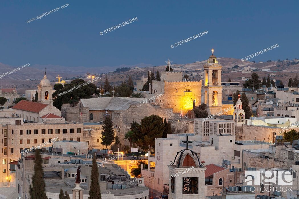 Stock Photo: Panoramic skyline of Bethlehem at dusk, Palestine.