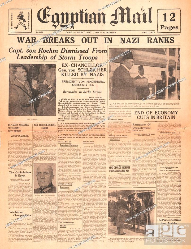 Stock Photo: 1934 Egyptian Mail front page reporting Night of the Long Knives.